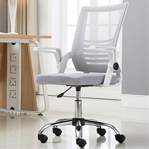 Creator-Z Hoch Rücken Ergonomischer Schreibtischstuhl Bürostuhl Bürodrehstuhl High Back Chefsessel mit hohe Rücklehne Netzrücken klappbare Armlehnen,Grau