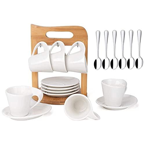 JUJOYBD Kaffeetassen 6er Set mit Untertassen auf Ständer aus Bambus, Porzellan Espressotassen 80ml Kaffeeservice für 6 Personen Teeservice (Bambushalter)