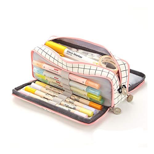 Oyachic Plaid Potlood Case,Etui, Grote Capaciteit Pouch Houder,3 Vakken Briefpapier Pouch Pennen,Meisje Pen Tassen Print…