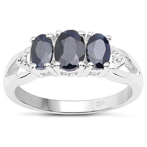 De Saffier Ring Collectie: Sterling zilveren 3 steen Saffier verlovingsring met diamanten set schouders, Verlovingsring, Eeuwigheidsring, Moederdag, Jubileum, Cadeau, Ringgrootte 9,10,11,12,13,15,16,17,19,24,20,15,6,21,22