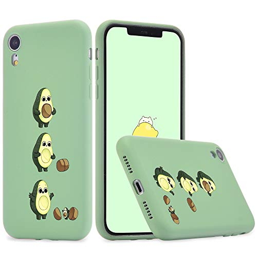 Idocolors Funda Compatible con iPhone 7 Plus 8 Plus Silicona Líquida Microfibra Forro de Cojín TPU Gel Case Anti-Choque Aguacate Protección Carcasa - Verde