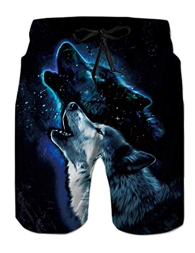 Mens Board Shorts with Mesh Liner 3D Printed Cool Wolf Swimming Trunks for Gays Funny Dark Blue Starry Galaxy Animal Graphics Bathing Suits Young Man Summer Casual Beach Swim Clothes, XL