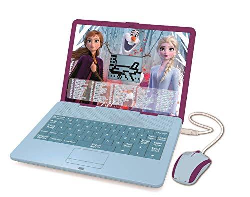 LEXIBOOK- Disney Frozen 2 - Ordenador portátil Educativo y bilingüe español/inglés - Juguete para niñas con 124 Actividades para Aprender, Juegos y música con Elsa y Anna - Azul/Púrpura