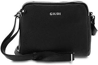 GIUDI ® - Borsa Donna in vitello martellato, tracolla, Made in Italy, vera pelle. (Nero)