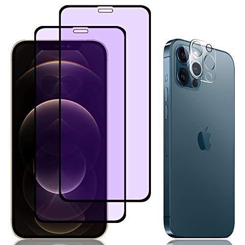 AnnTec iphone12pro max ブルーライトカット フィルム(2枚)+カメラフィルム(1枚) 目の疲れ軽減 日本硝子製 硬度9H 飛散防止 指紋軽減 高透過率 貼り付け簡単 反射防止フィルム 気泡ゼロ iPhone12 Pro Max ガラスフィルム+カメラフィルム