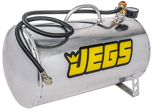 JEGS Portable Aluminum Air Tank | 5 Gallon Capacity | Horizontal Design | Maximum Rating 125 PSI | Includes Gauge, 36 Inch Hose, and Pressure Relief Valve