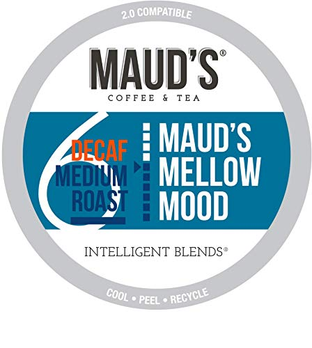 Maud's Decaf Medium Roast Coffee (Mellow Mood Decaf), 100ct. Recyclable Single Serve Coffee Pods – Richly satisfying arabica beans California Roasted, k-cup compatible including 2.0