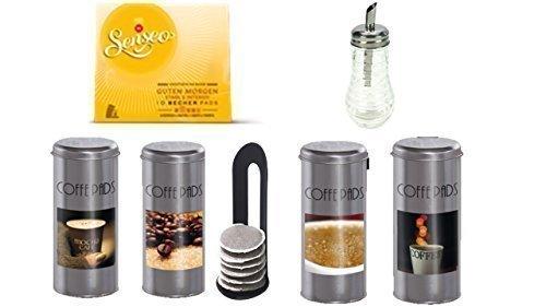 Senseo Kaffeepads Guten Morgen, 1er Pack WAK 61001 Coffee Metalldose Time I 4fach sortiert, 4Stück mit Padlifter + Weihnachtsgeschenk + Glaszuckerstreuer