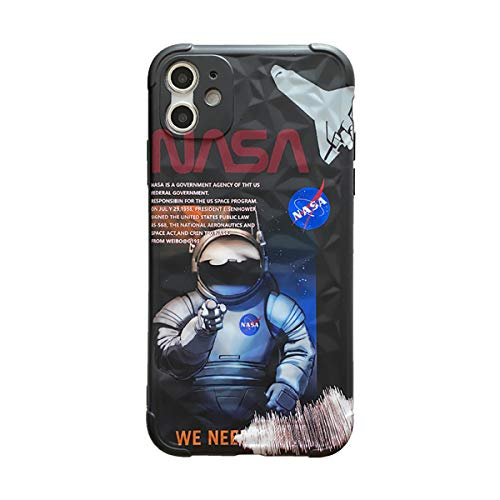 Silicona TPU NASA Funda para iPhone 11 Rasguño Resistente Anti-Choque Carcasa iPhone 7/8 con Bordes Suaves Funda Protectora Caso para iPhone 11 Pro / 11 Pro MAX (Negro)