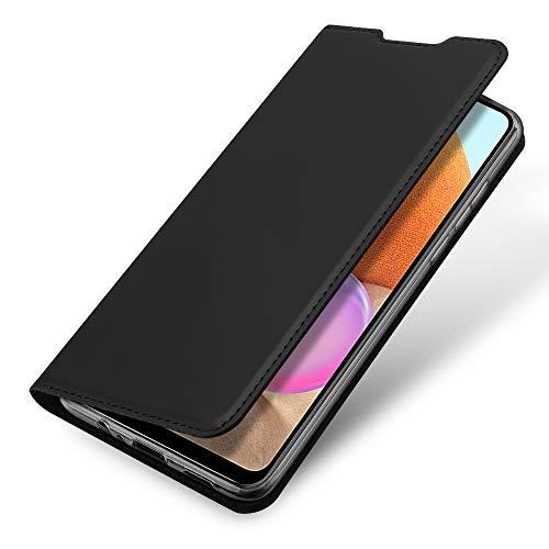 Funda para Samsung Galaxy A32 4G Carcasa de Teléfono de Cuero PU Premium Estuche Sedoso Ultrafino para Billetera con Tapa Magnética, Compatible con Samsung Galaxy A32 4G, Negro