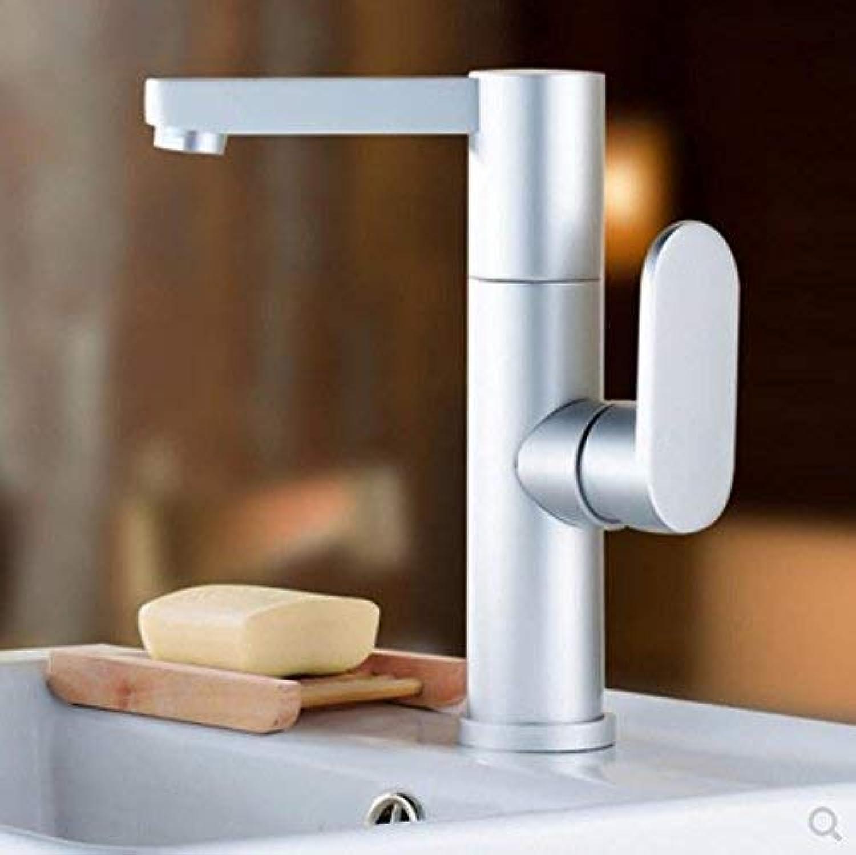 Oudan European Single Handle Single Hole Washbasin Faucet Space Aluminum 360 Degrees redating Faucet Hot And Cold Bathroom Wash Basin Faucet Kitchen Faucet (color   -, Size   -)