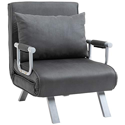HOMCOM Modern 2-In-1 Design Single Sofa Bed Sleeper Foldable Portable Armchair Bed Chair Lounge Couch with Pillow for Living Room, Bedroom, Grey
