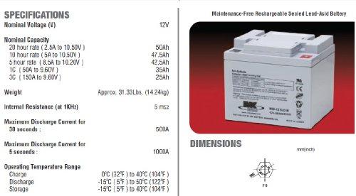 MK Power AGM elektromobielbatterijen, 12 V, 50 Ah, 2 stuks
