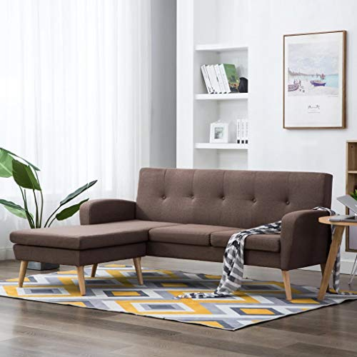 Festnight Sofa L-Form | 3-Sitzer Sofa | 3er Stoff Couch | Wohnzimmer Stoffsofa | Loungesofa | Eckcouch Ecksofa | Braun Stoffbezug mit MDF Rahmen 186 x 136 x 79 cm
