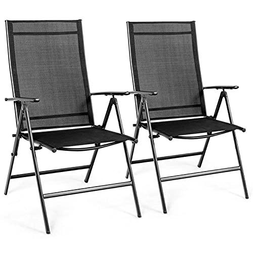 Conjunto de Comidas Conjunto de Comedor de Patio, Conjunto de 2 Patio, Silla de Comedor Plegable, sillón reclinable, Ajustable, Juego de Muebles de Patio Negro. por CHENGYSTE