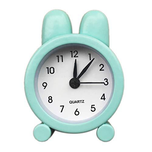 Oppal Creativo Lindo Mini Reloj Despertador pequeño de Metal Reloj Despertador pequeño electrónico, Reloj para el día de Pascua (Verde)