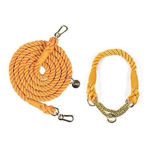 Color Degradado Collares de pellizco para Perros Correas para Perros Cuerda Cadena de Metal Correa para el Cuello Mascota Caminar al Aire Libre Cuerda de tracción Larga, Naranja, Dorado, L