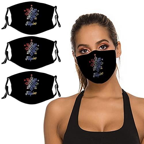 Filipino Tribal Philippine Gift 3PCS Face Mask Washable Reusable Bandana Scarf Adjustable Strap & Nose Clip Unisex
