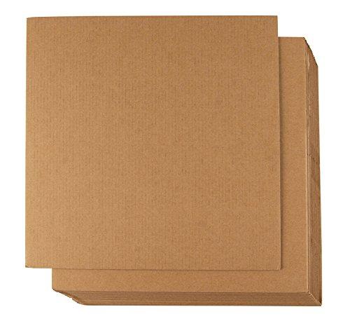 Juvale Wellpappe (Set, 24 Blatt) - Bastelpapier, Kartonpapier, Fotokarton - Ideal für Verpackung, Versandtaschen, zum Basteln, Kunsthandwerk - Braun, ca. 30,5x 30,5cm