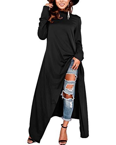 ZANZEA Damen Langarm Kapuzenpullover Asymmetrisch Lange Hoodies Shirts Oversize Oberteile 01-schwarz XX-Large