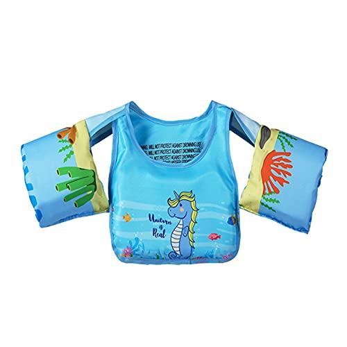 WANGT Gilet da Nuoto per Bambini, Gilet Galleggiante da Allenamento per Bambini con Fibbia di Sicurezza Giubbotto Salvagente per Giubbotto Salvagente Anello Salvagente per Bambini Manicotto,Blue 2