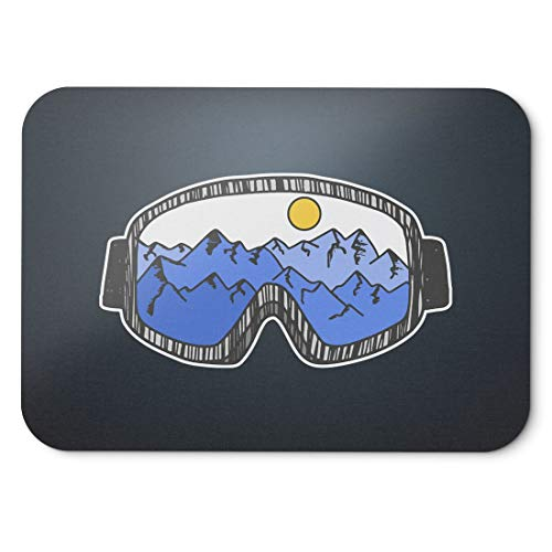 BLAK TEE Illustration of Skiing and Snowboarding Glasses Mouse Pad 18 x 22 cm in 3 Colours Black