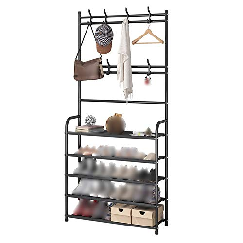 Vintage Coat Rack Stand Clothes Rack Stand, Double Tier Hooks, Strong Load Bearing Stable, Bedroom Hall Entryway Furniture For Storage Clothing Hat Scarf Shoe, High Capacity Heavy Duty Coat Rack