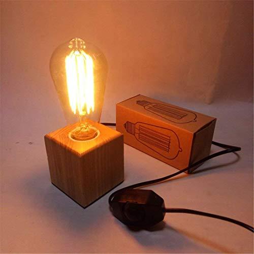 GLYYR Lámpara de Escritorio Regulable Simple Moderno Creativo Retro Madera Color Cubo decoración Escritorio Bar Dormitorio lámpara de Noche 7 * 7 cm