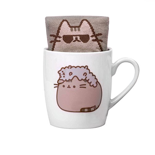 Thumbs Up Keramiktasse mit Pusheen-&-Stormy-Design, inkl. Pusheen-Socken, weiß, 12 x 9,5 x 8,5 cm, PUSHSMSTR
