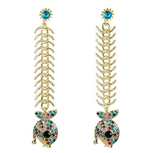 Vvff Pendientes Colgantes Con Forma De Hueso De Pez De Diamantes De Imitación Coloridos Brillantes, Pendientes Para Mujer, Joyería De Fiesta