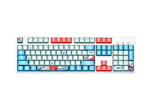 Kaleno PBT Doubleshot Keycaps 104 Key Set Pink Blue Combo Translucent Cherry MX Key Caps for 61//87//104 MX Switches Mechanical Gaming Keyboard with Keycaps Puller