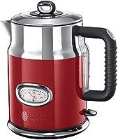 Russell Hobbs Su Isıtıcı Retro Kırmızı, 1,7L, 2400W, Hızlı Kaynatma Özelliği, Retro Tasarımda Su Sıcaklığı Göstergesi,...