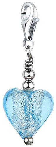 Nenalina Charm Muranoglas-Herz Anhänger in 925 Sterling Silber für alle gängigen Charmträger 712024-002