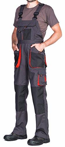 Mazalat - Peto de trabajo para hombre de calidad, con bolsillos acolchados en las rodillas, tallas S-XXXL, color negro negro / naranja 48