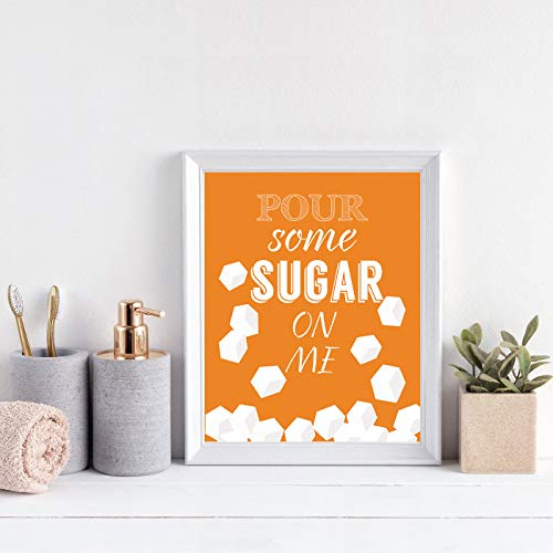 6 Set- Colorful Funny Kitchen Quote Art Print, Dessert Vegetables Tea with Motivational Saying Canvas Wall Art Printing For Kitchen Cofee Shop Decoration (Unframed,8
