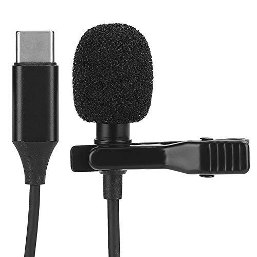 Nannday Typ C Mikrofon, hochempfindliches tragbares ABS Lavalier Live Lavalier Aufsteckmikrofon, für das Interview mit der Bühnenaufnahme
