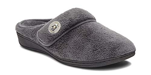 Vionic Women's Indulge Sadie Mule Slipper - Ladies Slipper Concealed Orthotic Support Grey...