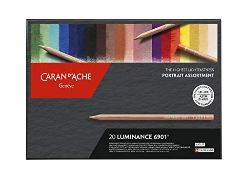 Caran d'Ache Matite colorate Luminance Portrait assortite, 20 colori, 26 x 19 x 2 cm