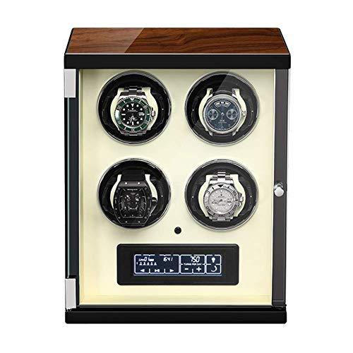 XIUWOUG Caja giratoria automática para relojes con panel táctil y pantalla con mando a distancia, almohadilla ajustable para reloj (color: blanco, tamaño: 4+0)