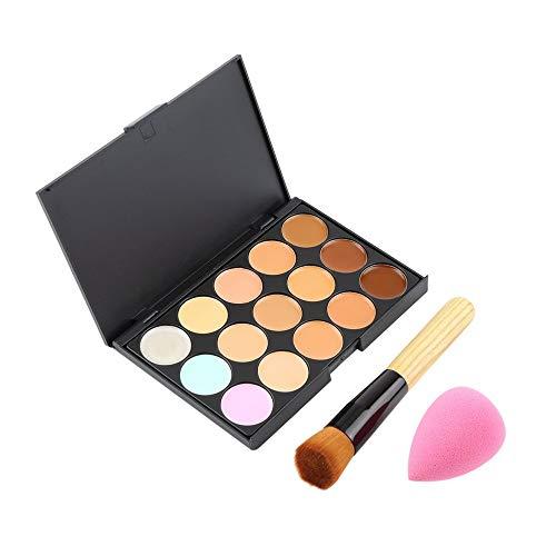 15 Color Pro Concealer Face Primer Cream Contour Palette Makeup Corrector Base Palette Sponge Puff Powder Brush-Multicolor