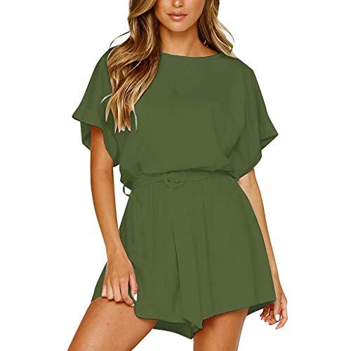 Women Tops,Meet&sunshine Women's Fashion Casual Short Sleeve Belted T-Shirt Tops+Shorts Set Suit (Green, M)