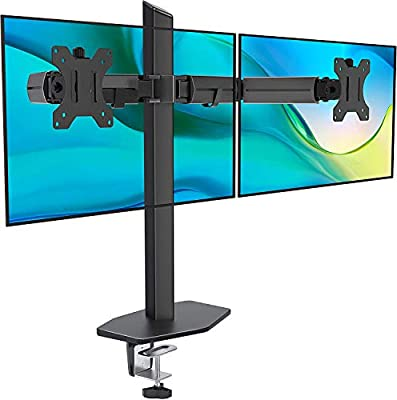 EleTab Dual Monitor Stand - Heavy Duty Dual Arm Monitor Desk Mount Fully Adjustable, Fit 2/Two LCD Screens up to 27 Inch with C-Clamp and Grommet Base, Black