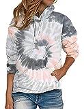 Nekosi Frauen Tie Dye Langarm Loose Pullover Tunika Tops Lässig Farbblock High Collar Sweatshirt Mit Taschen Grau XL