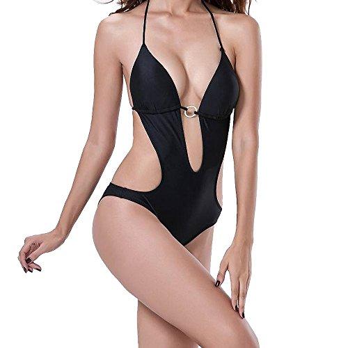 Liyuzhu Vrouwen Zwemkleding laag uitgesneden hals met verstelbare Strings Backless lage taille One-Piece Sexy Bikini (Color : Black, Size : XL)
