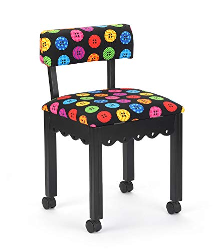 Arrow 8013 Wood Sewing and Craft Chair with Gingerbread Design and Under Seat Storage, Print Upholstery Fabric by Riley Blake, Black with Buttons Print Fabric