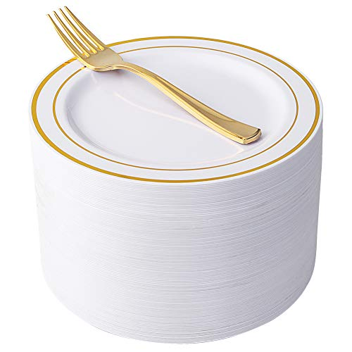 "NERVURE 102 Heavyweight Plastic Disposable 7.5"" Small Plates & 102 Gold Plastic Forks, Perfect for Salads, Desserts, Parties, Catering, Wedding Cakes (gold)"