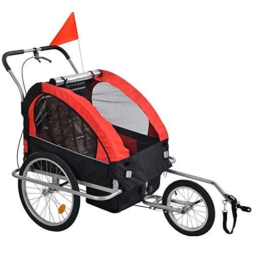 COSMOLINO Remolque de bicicleta para niños, remolque para bebés y niños, remolque para bicicleta para 2 niños, con banderín y compartimento de almacenamiento