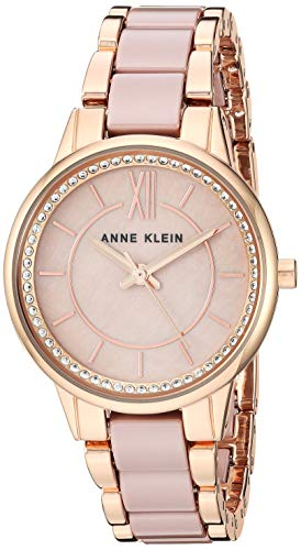 Anne Klein Women's Swarovski Crystal Accented Rose Gold-Tone and Taupe Ceramic Bracelet Watch, AK/33
