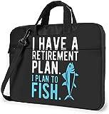 Ich Habe einen Pensionsplan Ich Plane, Laptop-Tasche zu fischen Stoßfeste Aktentasche Umhängetaschen Tragetasche Laptop 14 Zoll