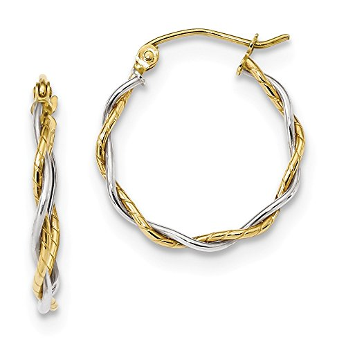 10k Two Tone Yellow Gold 1.8mm Twisted Hoop Earrings Ear Hoops Set Fine Jewelry For Women Gifts For Her